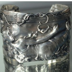 Rare Antique Goddess Sterling Silver Cuff Bracelet